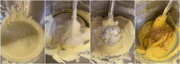 preparazione torta con ricotta, mandorle e amaretti