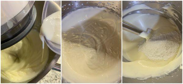 preparazione ciambella bicolore panna e caffè