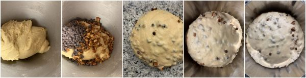 preparazione panini dolci pere e cioccolato