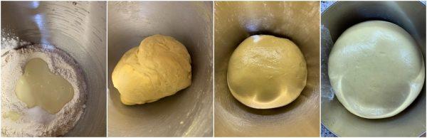 preparazione brioche al latte condensato e crema