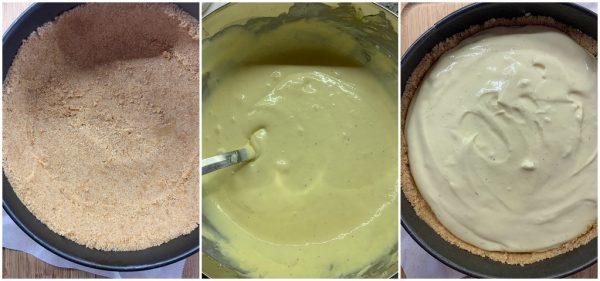 preparazionenew york cheesecake alle mele, mandorle, amaretti e caramello