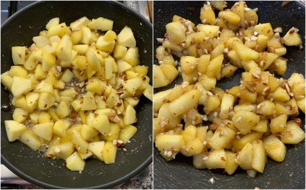 preparazione new york cheesecake alle mele, mandorle, amaretti e caramello