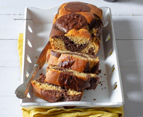 plumcake marmorizzato al cacao e farina di patate dolci