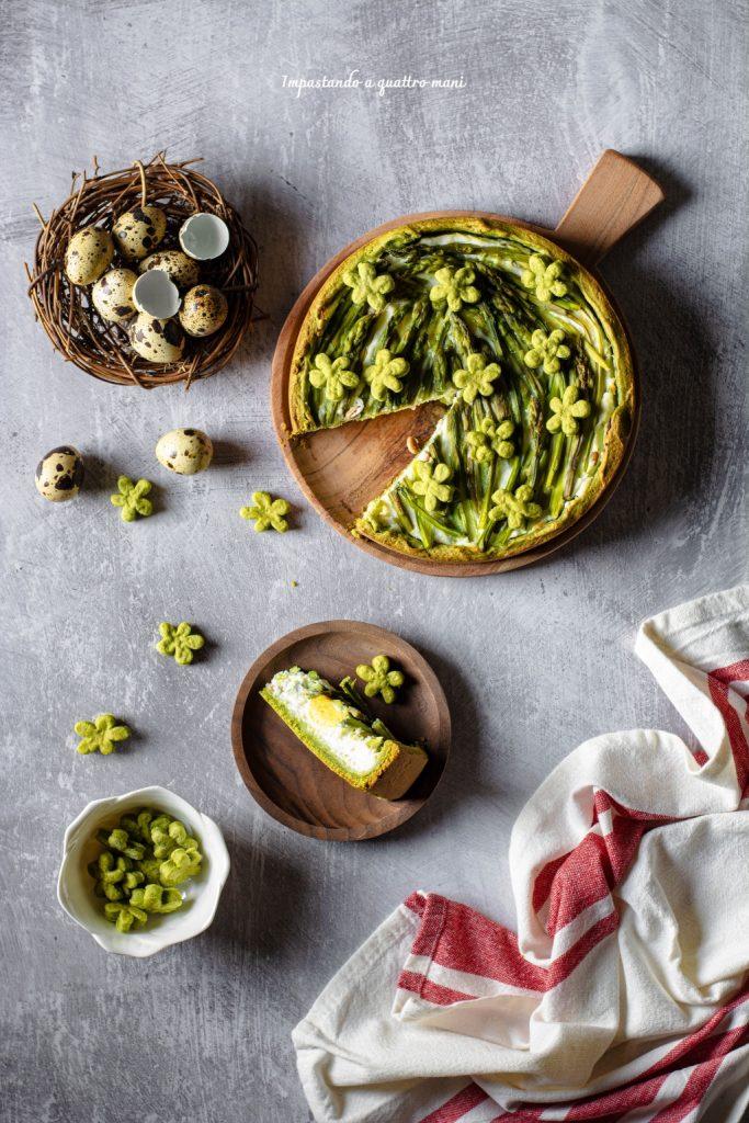crostata salata agli asparagi-con ricotta e uova di quaglia