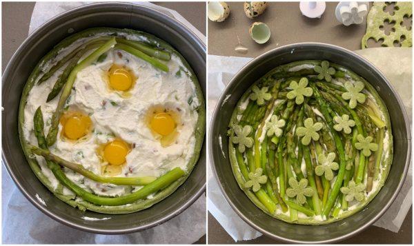preparazione crostata salata agli asparagi-con ricotta e uova di quaglia