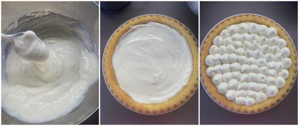 preparazione crostata morbida con namelaka al cioccolato bianco