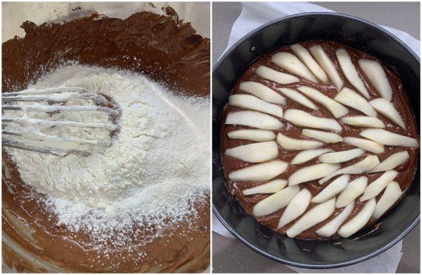 preparazione torta pere e cioccolato